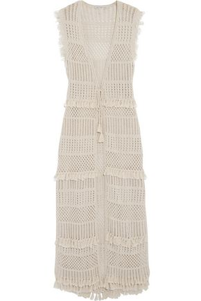 AUTUMN CASHMERE Fringe-trimmed pointelle-knit cotton vest