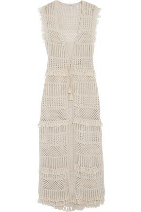 AUTUMN CASHMERE Fringe-trimmed pointelle-knit cotton vest