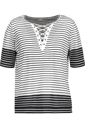 AUTUMN CASHMERE Lace-up striped cotton-jersey top
