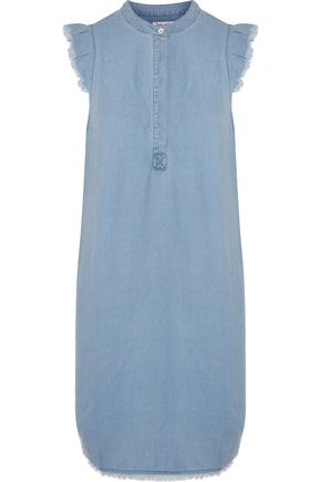SPLENDID Henley fringed chambray mini dress