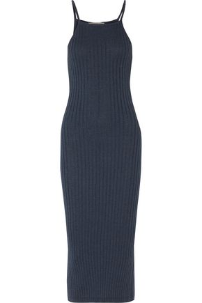 AUTUMN CASHMERE Ribbed cotton midi dress