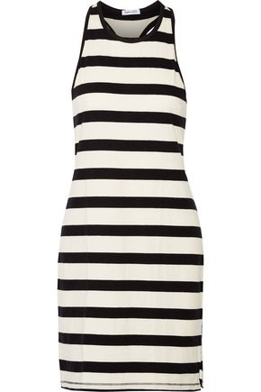 SPLENDID Striped cotton-jersey mini dress