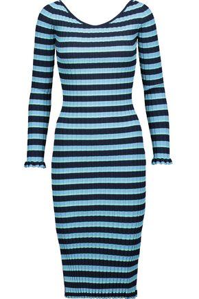 ALTUZARRA Socorro ribbed striped stretch-knit midi dress