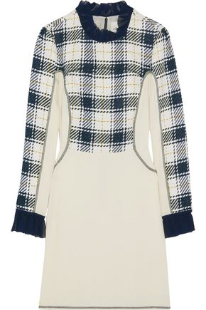 3.1 PHILLIP LIM Paneled checked mini dress