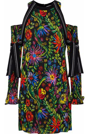 3.1 PHILLIP LIM Cold-shoulder silk-trimmed printed crepe mini dress