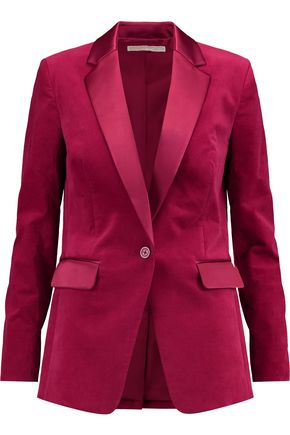 MICHAEL MICHAEL KORS Satin-paneled cotton-blend blazer