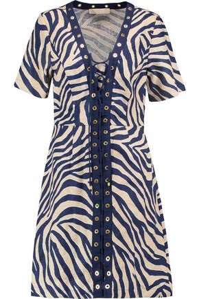MICHAEL MICHAEL KORS Lace-up zebra-print linen mini dress