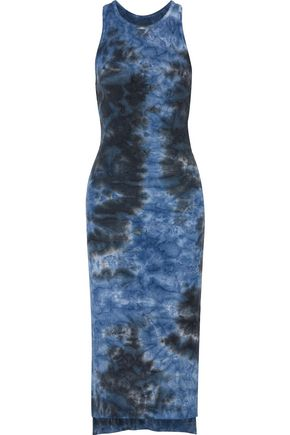 ENZA COSTA Tie-dye ribbed-knit midi dress