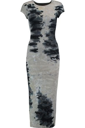 ENZA COSTA Printed ribbed jersey midi dress