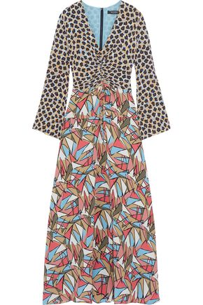 ETRO Gathered paneled printed silk maxi dress