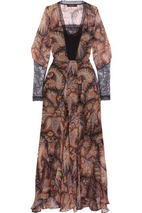 ETRO Lace-paneled printed silk-georgette gown