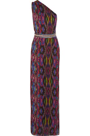 MATTHEW WILLIAMSON One-shoulder embellished printed silk-chiffon gown
