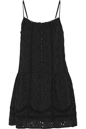 JOIE Austen crochet-trimmed broderie anglaise cotton mini dress
