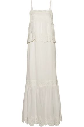 JOIE Rey broderie anglaise-paneled cotton-blend broadcloth maxi dress