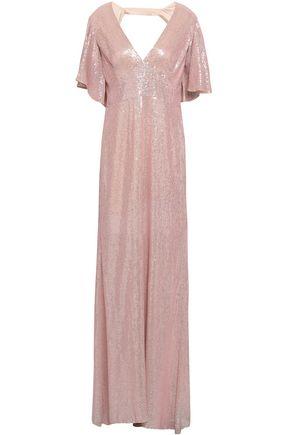 TEMPERLEY LONDON オープンバック スパンコール付き シフォン ロングドレス