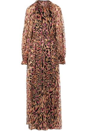 TEMPERLEY LONDON Ruffle-trimmed fil coupé animal-print silk-blend halterneck gown