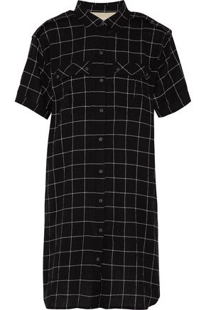 CURRENT/ELLIOTT Checked textured cotton-blend mini shirt dress