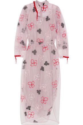 SIMONE ROCHA Bead-embellished embroidered tulle midi dress