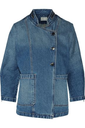 CURRENT/ELLIOTT Asymmetric faded denim jacket