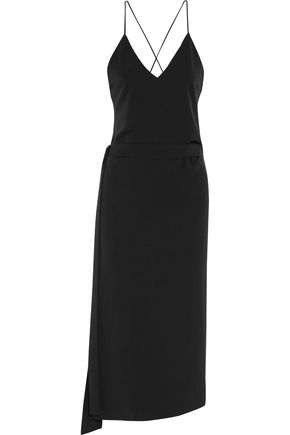 ALEXIS Belted faille midi dress
