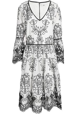 BADGLEY MISCHKA Open knit-trimmed embroidered ramie-blend gauze dress