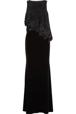BADGLEY MISCHKA Layered guipure lace and cady gown