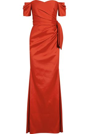 BADGLEY MISCHKA Off-the-shoulder satin-twill gown
