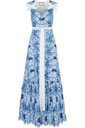 ALEXIS Bow-embellished cutout embroidered voile gown