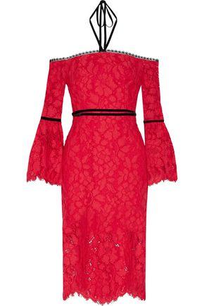ALEXIS Odette off-the-shoulder cotton-blend corded lace halterneck dress