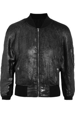 R13 Reversible metallic silk bomber jacket