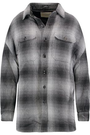 R13 Distressed padded checked cotton and silk-blend twill jacket
