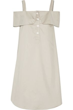 OPENING CEREMONY Cold-shoulder cotton-blend poplin dress