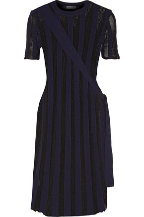 OPENING CEREMONY Open knit-paneled striped stretch-knit dress