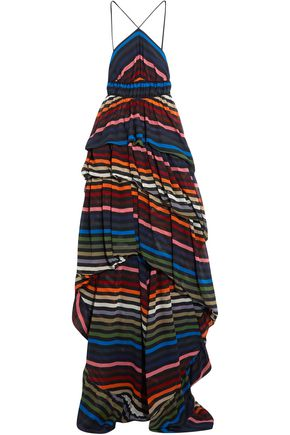 SONIA RYKIEL Ruffled striped silk-chiffon gown