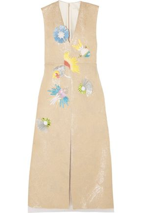 DELPOZO Appliquéd linen-blend midi dress