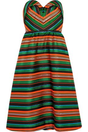 DELPOZO Strapless striped jacquard dress