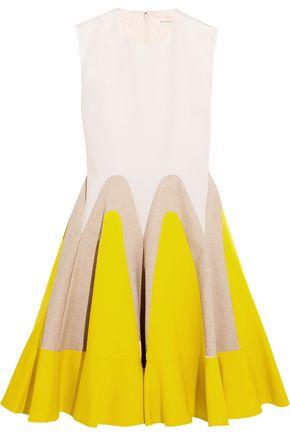DELPOZO Linen-paneled cotton-poplin mini dress