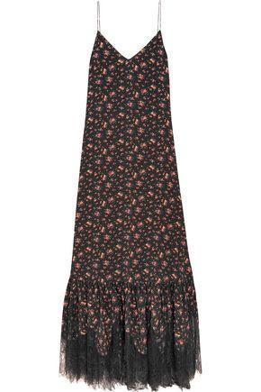 McQ Alexander McQueen Lace-trimmed floral-print silk crepe de chine maxi dress