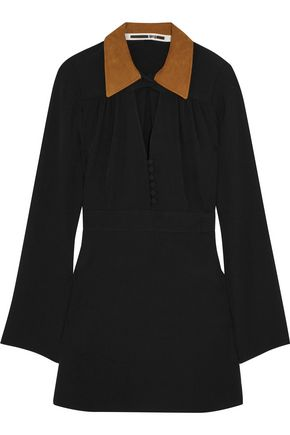 McQ Alexander McQueen Faux suede-trimmed crepe mini dress