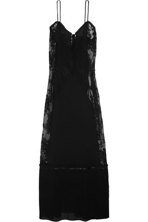 McQ Alexander McQueen Lace-paneled chiffon maxi dress