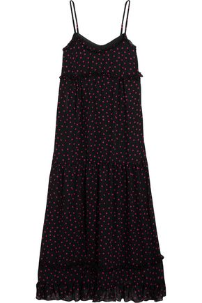 McQ Alexander McQueen Ruffle-trimmed printed georgette maxi dress