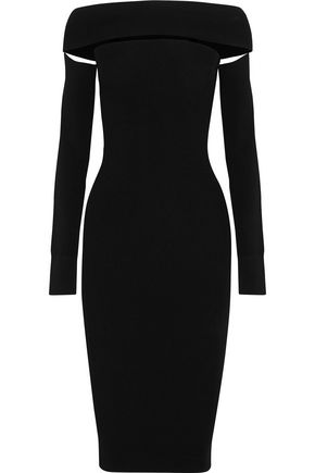McQ Alexander McQueen Off-the-shoulder cutout stretch-knit dress