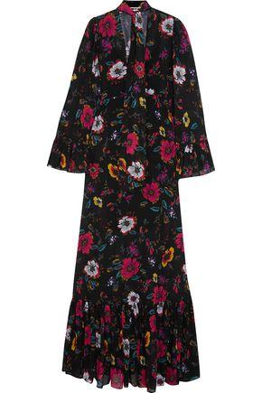 McQ Alexander McQueen Pussy-bow printed chiffon maxi dress