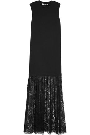 McQ Alexander McQueen Cotton-jersey and lace maxi dress
