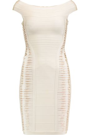 HERVÉ LÉGER Alyson off-the-shoulder slashed bandage mini dress