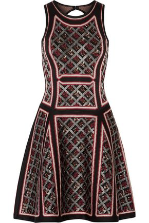 HERVÉ LÉGER Kacey flared bandage-jacquard mini dress