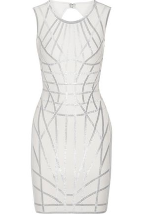 HERVÉ LÉGER BY MAX AZRIA Romee metallic-trimmed stretch jacquard-knit dress