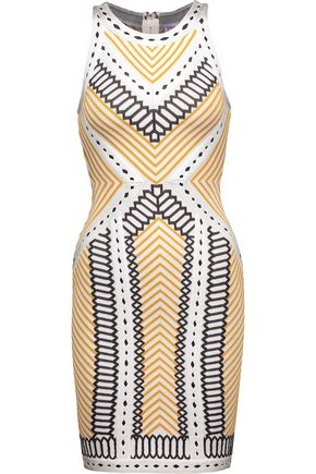 HERVÉ LÉGER Lylah pointelle-trimmed bandage-jacquard mini dress