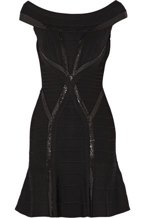 HERVÉ LÉGER Mikaela off-the-shoulder sequin-embellished bandage mini dress