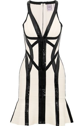 HERVÉ LÉGER BY MAX AZRIA Sequin-embellished bandage mini dress